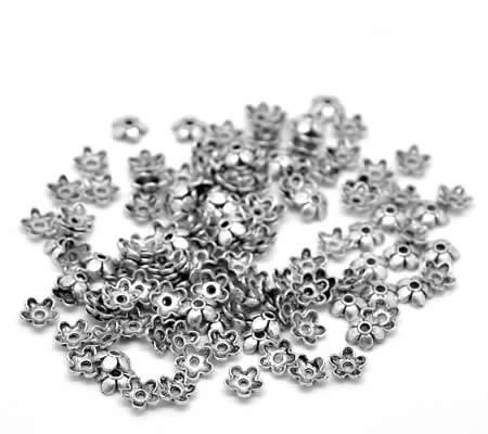 50x Kralenkapjes Donker Zilver