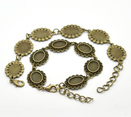 1x Cabochon Armband Brons 14 x 10 mm