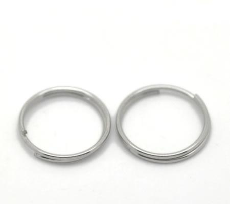 10x Splitring Donker Zilver