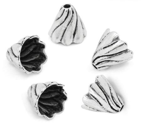 2x Kapjes Donker zilver 12 mm