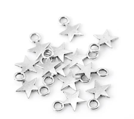 20 stuks mini bedeltjes Donker Zilver