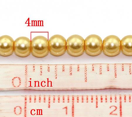 Snoertje Glasparels 4 mm Goud/Geel