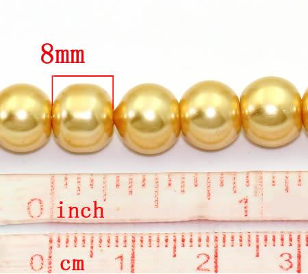 Snoertje Glasparel 8 mm Geel/Goud