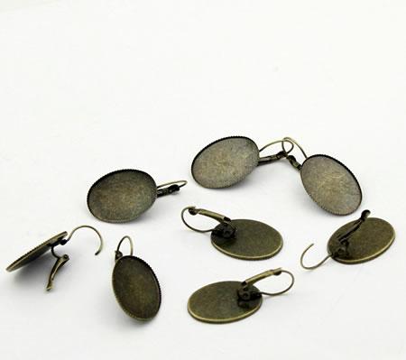 1 Paar bronzen cabochon oorbellen