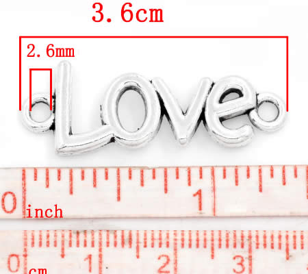 """1x connector """"Love"""" donker zilver"""