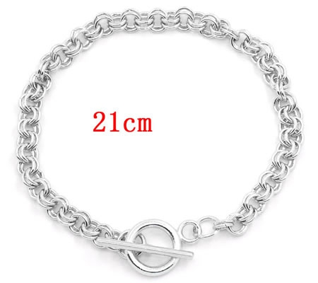 Armbandje Donker Zilver kleurig 21 cm