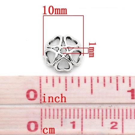 25x Kralen Kapjes Donker zilver 10 mm