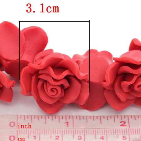 1x Fimo Roos Rood 3 cm