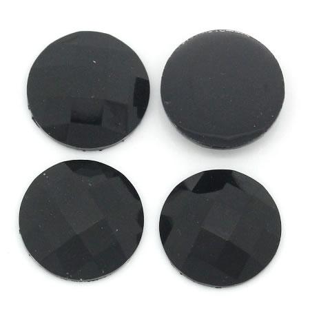1x acryl cabochon zwart facet 14 mm