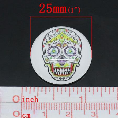 1 x Glazen Skull Cabochon 25 mm