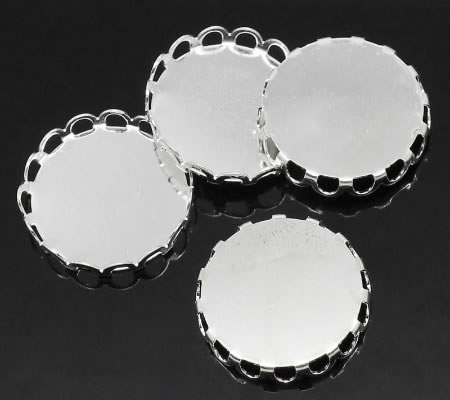 1x Cabochon setting Licht Zilver rond