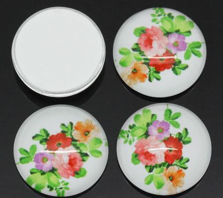 Glazen cabochon bloemen