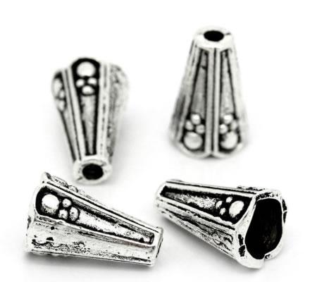 2x Kapjes Donker zilver 8 mm