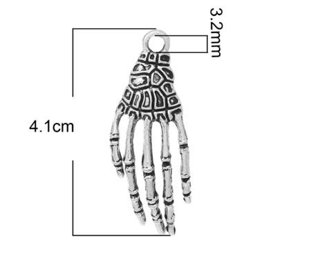 1x Bedeltje Skelet Hand Donker Zilver