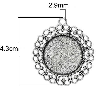 1x Cabochon Bedel 25 mm Donker Zilver