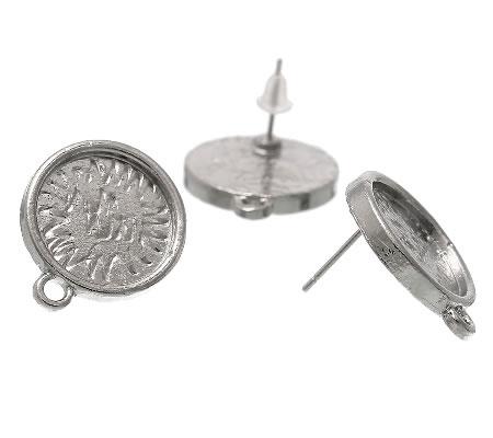 1 Paar Cabochon Stekertjes met oogje Donker Zilver
