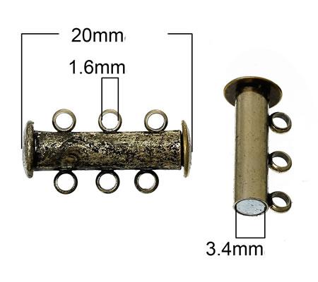 3-rij magneetslot Brons