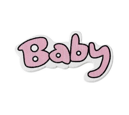1x Houten Cabochon Baby Roze
