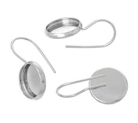 Cabochon haakjes Donker Zilver 10 mm