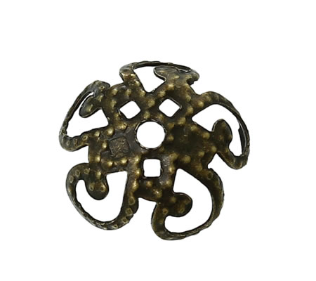 25 Kralen Kapjes Brons (dun)
