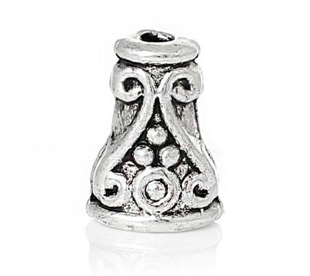 2x Kralen Kapjes Donker zilver 6 mm