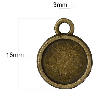 Cabochon Hanger Brons 12 mm Dubbelzijdig