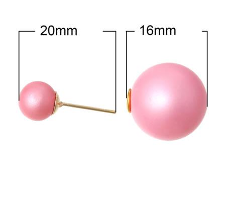 1 paar Double Dot oorbelletjes Roze Mat