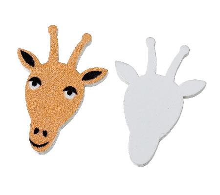 1x Houten Cabochon Giraf