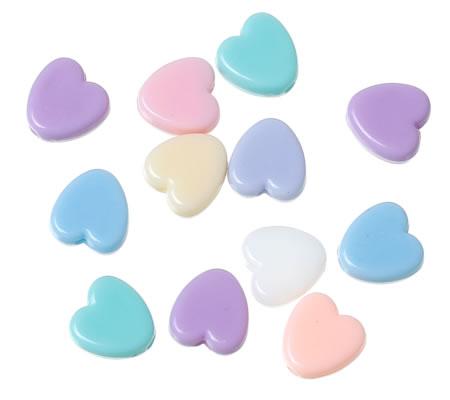 50 stuks pastel hartjes kraaltjes mix