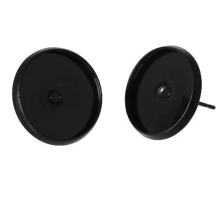 1 Paar Oorstekertjes Cabochon/Gespoten Zwart 14mm