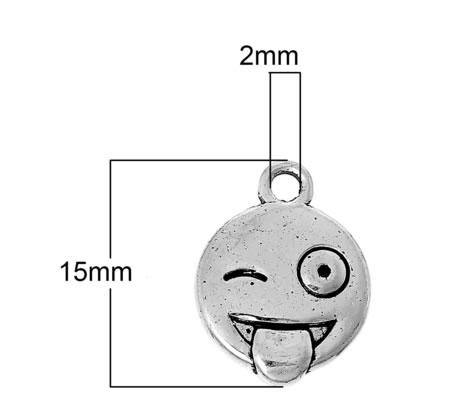 Bedeltje Emoticon Smile Donker Zilver,