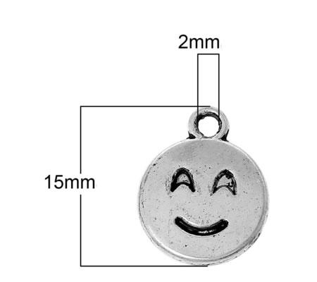 Bedeltje Emoticon Donker Zilver Smile