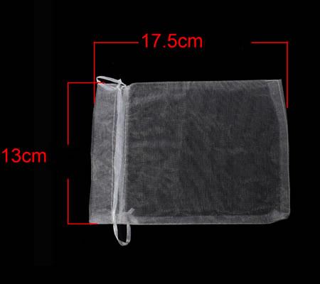 20 organzazakjes wit 17.5 x 13 cm