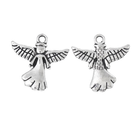 Engel bedeltje donker zilver