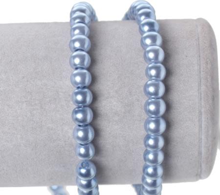 Snoertje Glasparels 6 mm  Lila/Blauw
