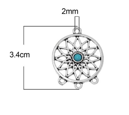 1x Filigrain Connector Donker Zilver/Turquoise