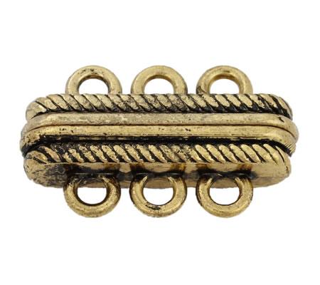 3-rij magneetslot oud goudkleurig