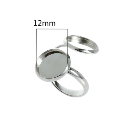 1x Dubbele Cabochon Ring Licht Zilver