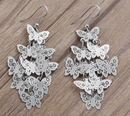 1 Paar oorbellen - Donker Zilver - Vlindertjes