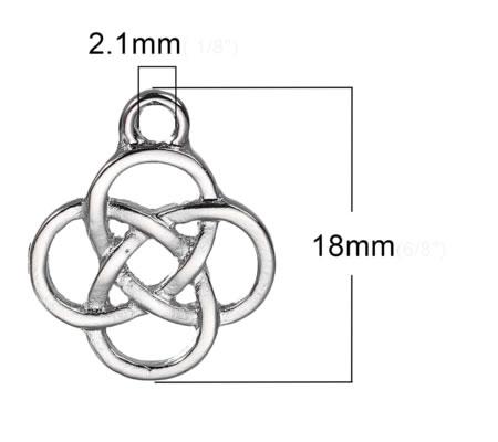 "1x Bedeltje ""Celtic Knot"" Licht Zilver"
