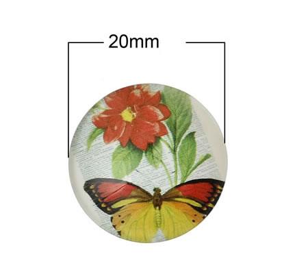 Glazen Cabochon 20mm Vlinder