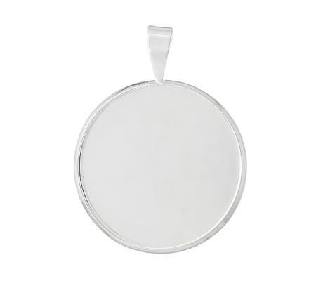 1x Cabochon hanger Licht Zilver 25 mm