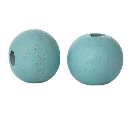 50 stuks houten kraaltjes Turquoise