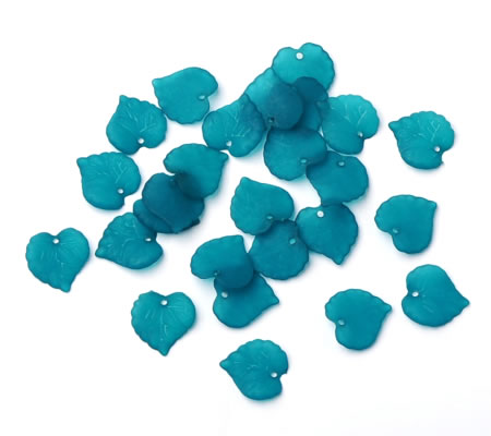 50x Acryl Frosted blaadje Turquoise Blauw