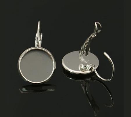 1 Paar Cabochon haakjes Donker Zilver