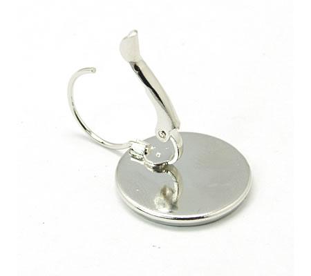 1 Paar Cabochon haakjes Licht Zilver 16 mm