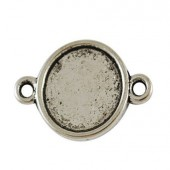 1x Cabochon Connectortje  Donker Zilver