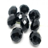 10x Kralen Facet Chrystal/Glas Zwart 6 x 8 mm