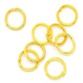 100 stuks Open ring 6 mm goudkleurig