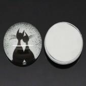Glazen cabochon Wit/Zwart Katten
